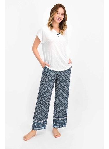 Arnetta Geometric Pattern Krem Kadın Kısa Kol Pijama Takımı Krem